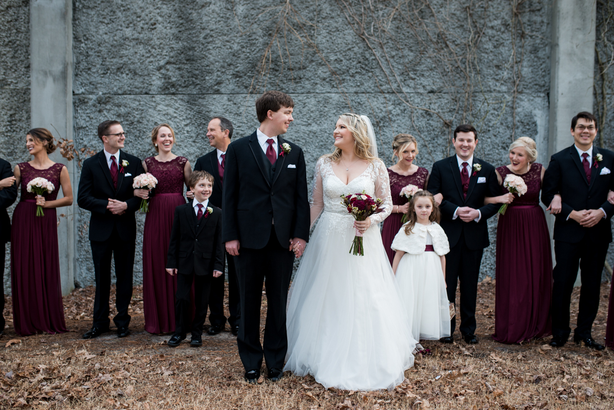 Burgundy and Blush Winter Wedding | Burgundy and black bridal party