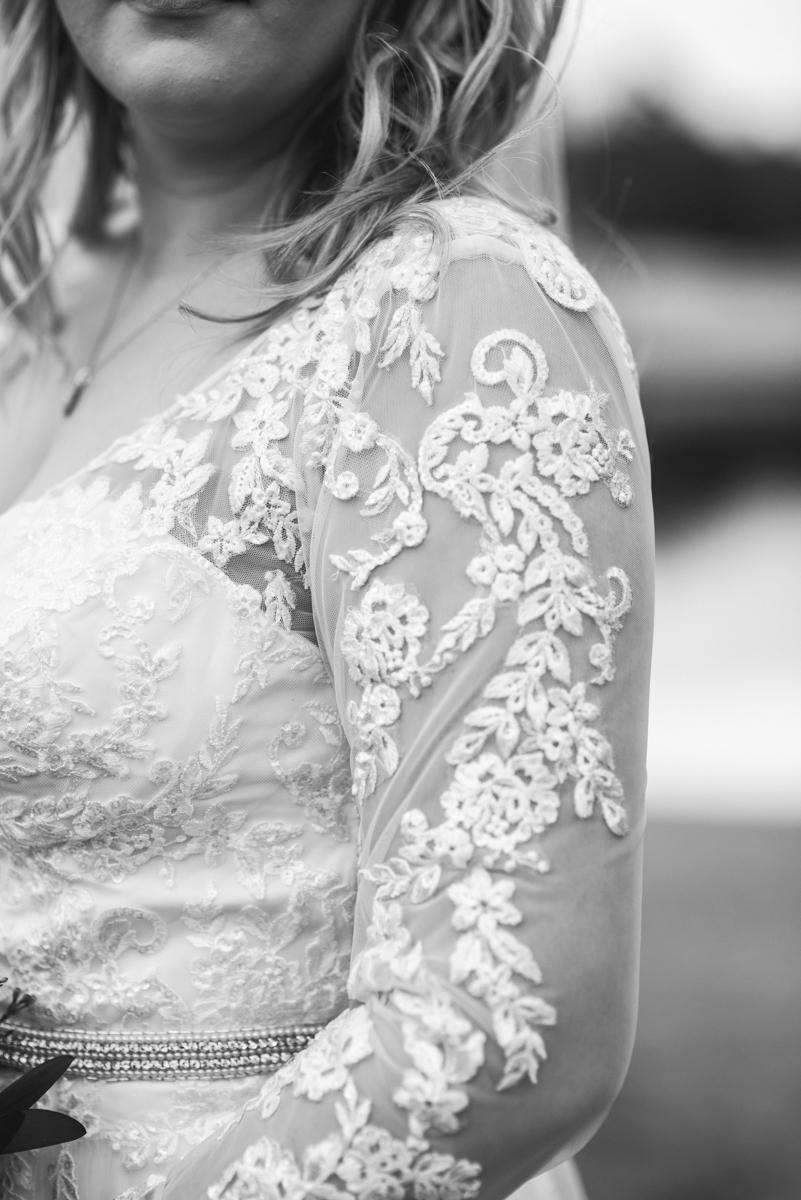 Burgundy and Blush Winter Wedding | Bridal portrait in lnog sleeved wedding dress