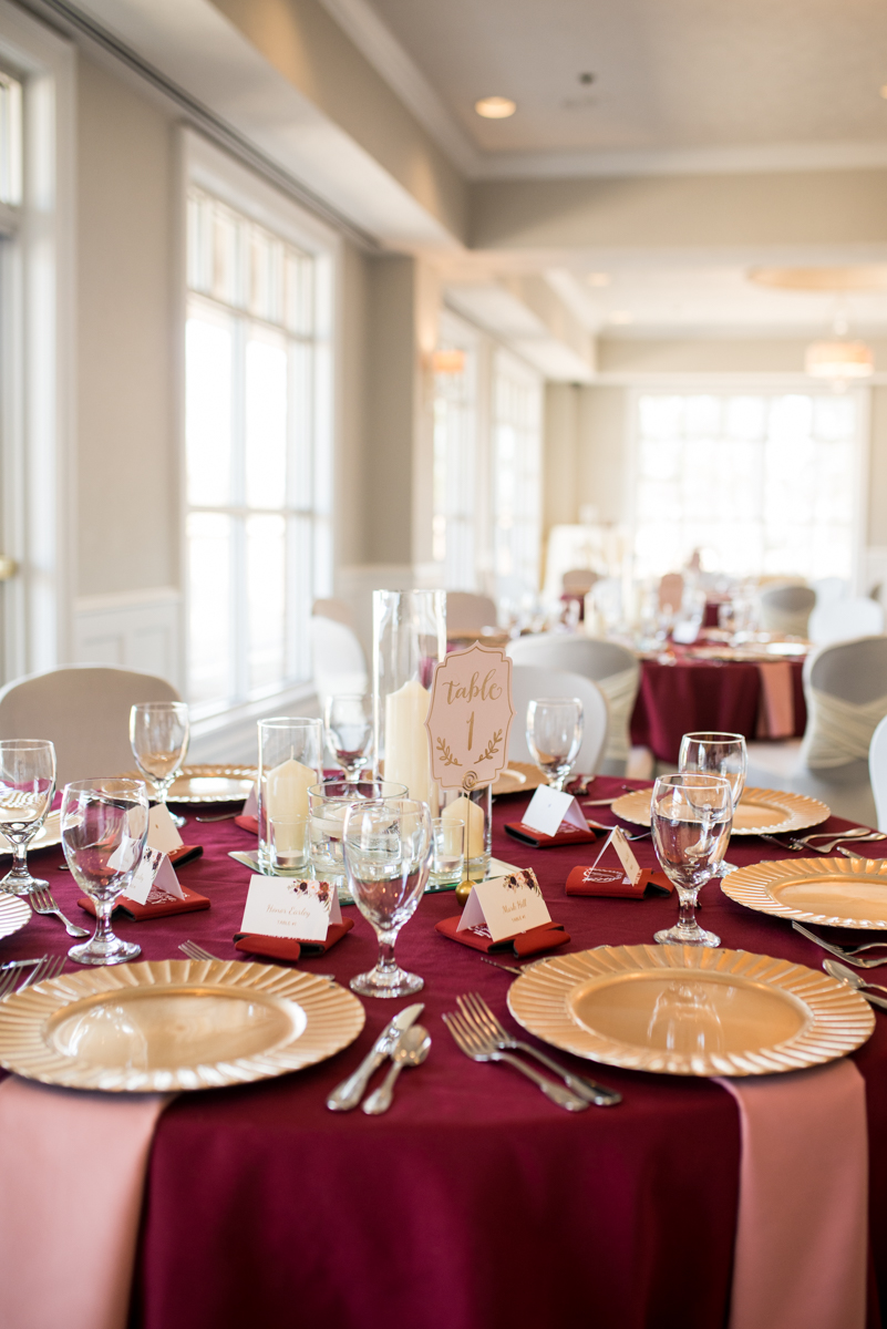 Burgundy and Blush Winter Wedding | Burgundy, gold, and blush wedding reception