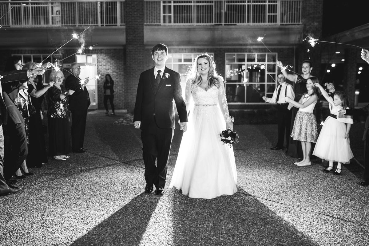 Burgundy and Blush Winter Wedding | Wedding sparkler exit