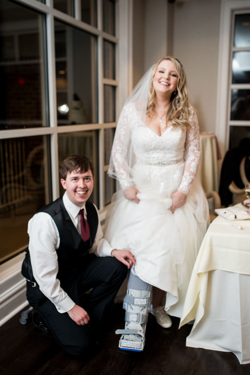 Burgundy and Blush Winter Wedding | Bride in bedazzled cast