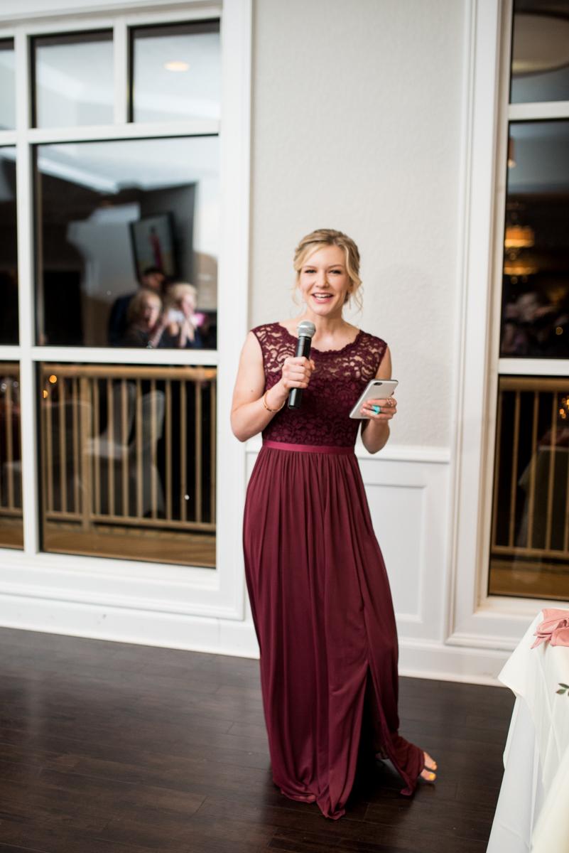 Burgundy and Blush Winter Wedding | Wedding reception maid of honor speech