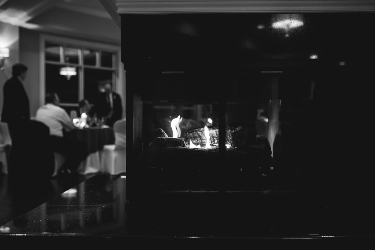 Burgundy and Blush Winter Wedding | Fireplace