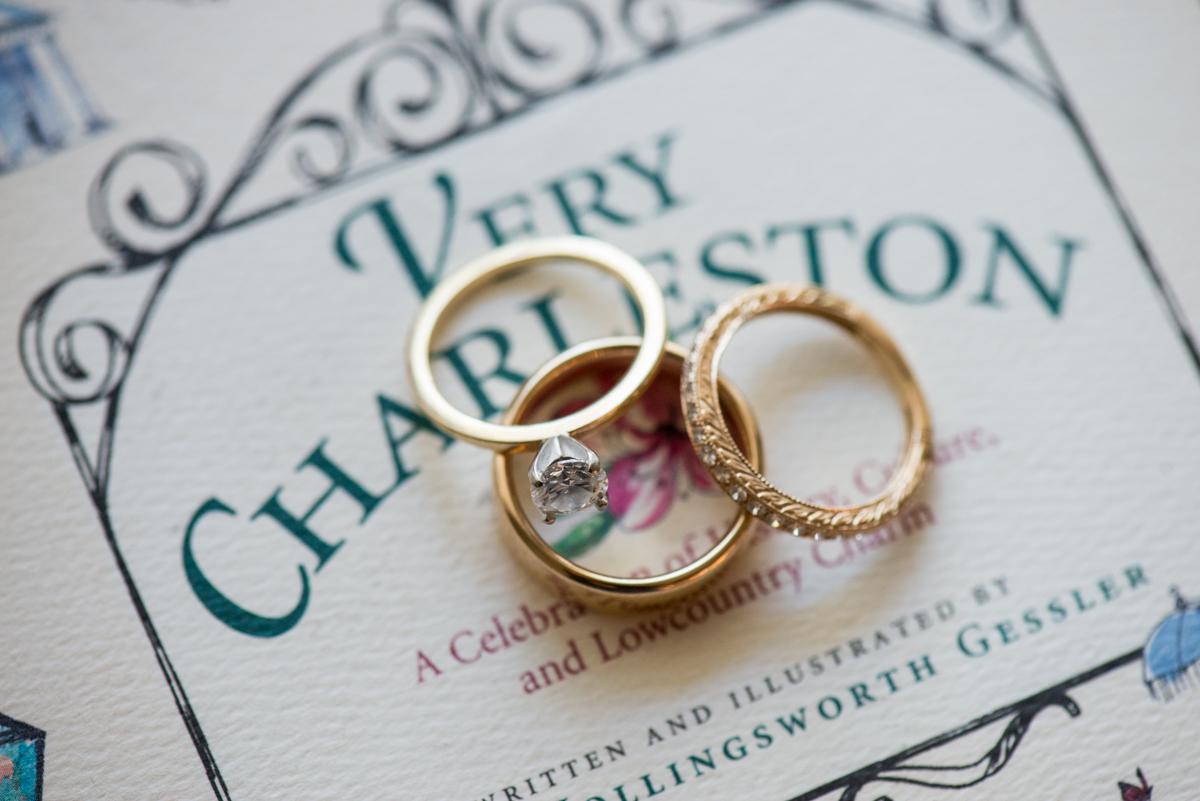 Navy, Wine, and Gold Charleston Wedding | Charleston Ring Shot