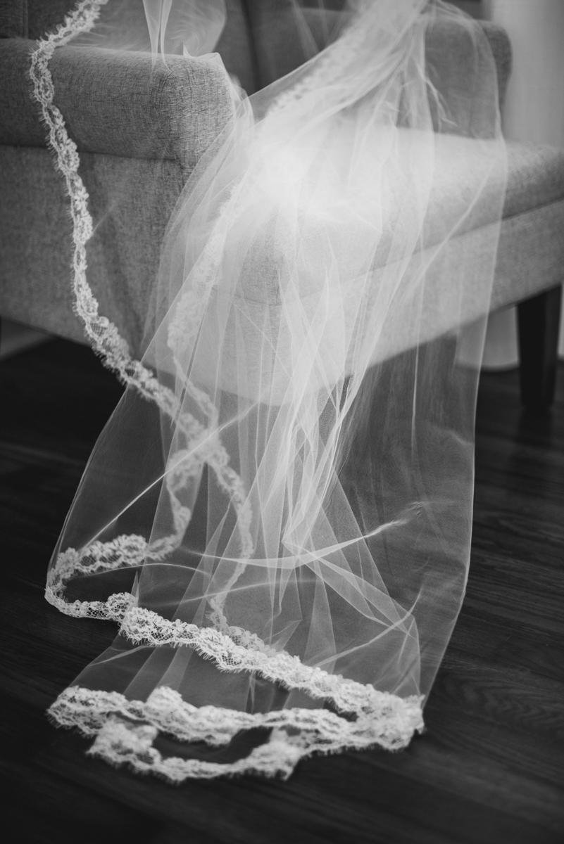 Navy, Wine, and Gold Charleston Wedding | Chapel Wedding Veil