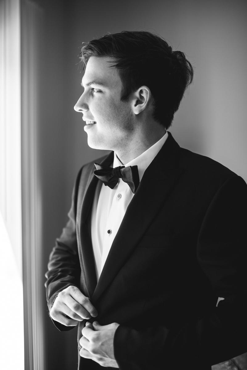 Navy, Wine, and Gold Charleston Wedding | Groom getting ready