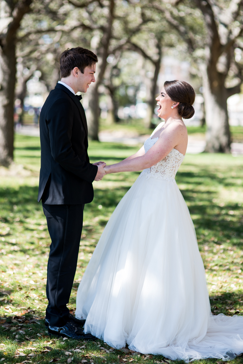 Navy, Wine, and Gold Charleston Wedding | Bride and Groom First Look
