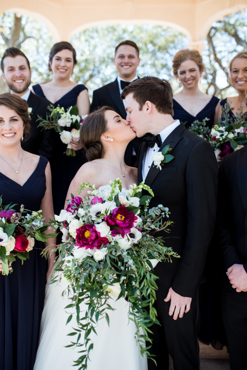 Navy, Wine, and Gold Charleston Wedding | Navy and Wine Bridal Party