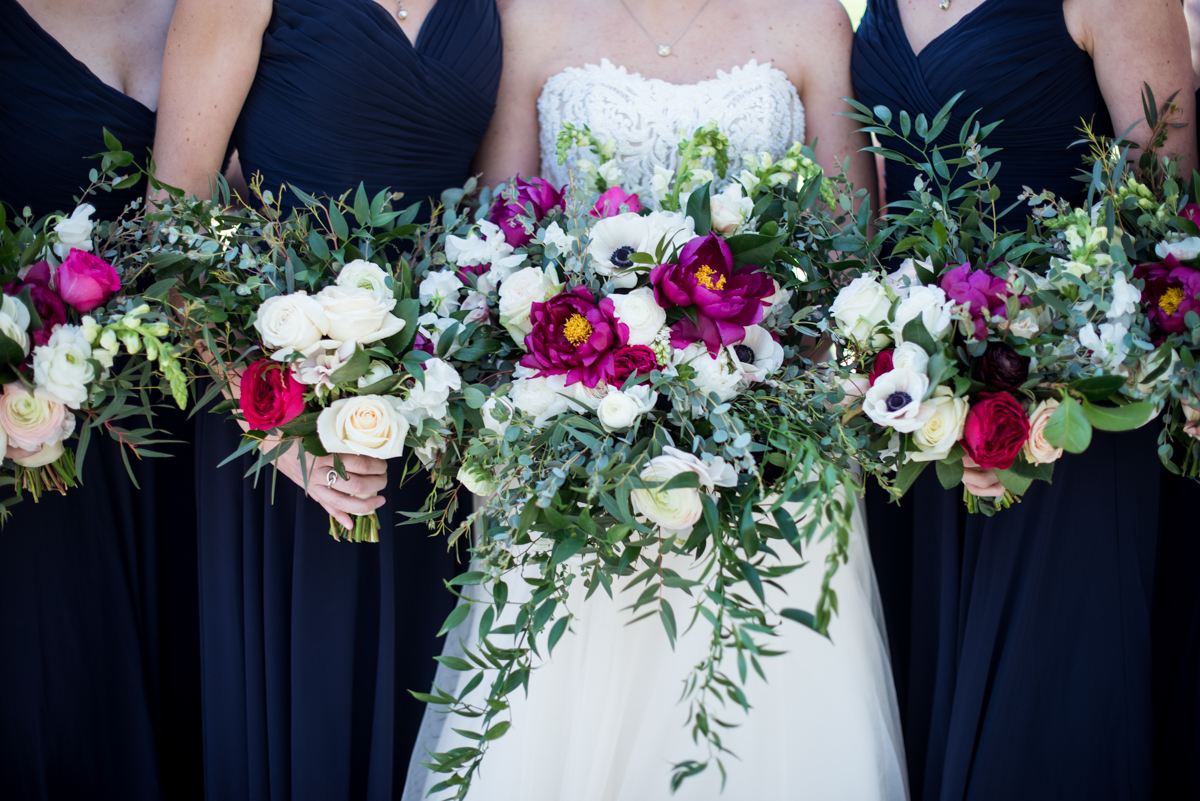 Navy, Wine, and Gold Charleston Wedding | Navy, Wine, and White Bridal Bouquets