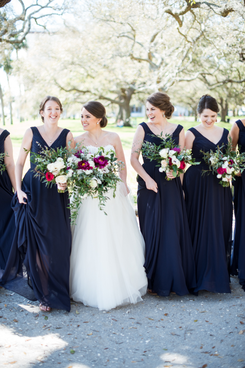 Navy, Wine, and Gold Charleston Wedding | Classic Navy Bridal Portrait