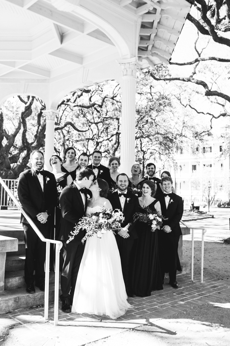 Navy, Wine, and Gold Charleston Wedding | Classic Downtown Bridal Party Portraits