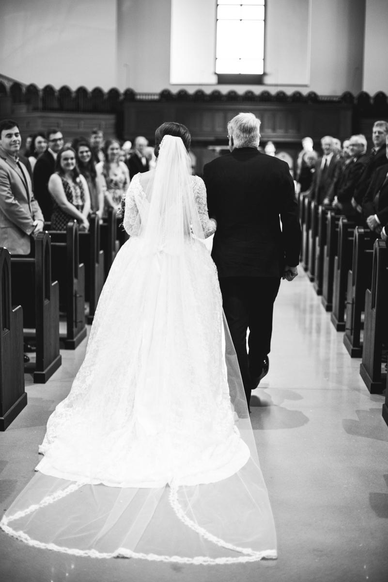 Navy, Wine, and Gold Charleston Wedding | Bride with chapel wedding veil