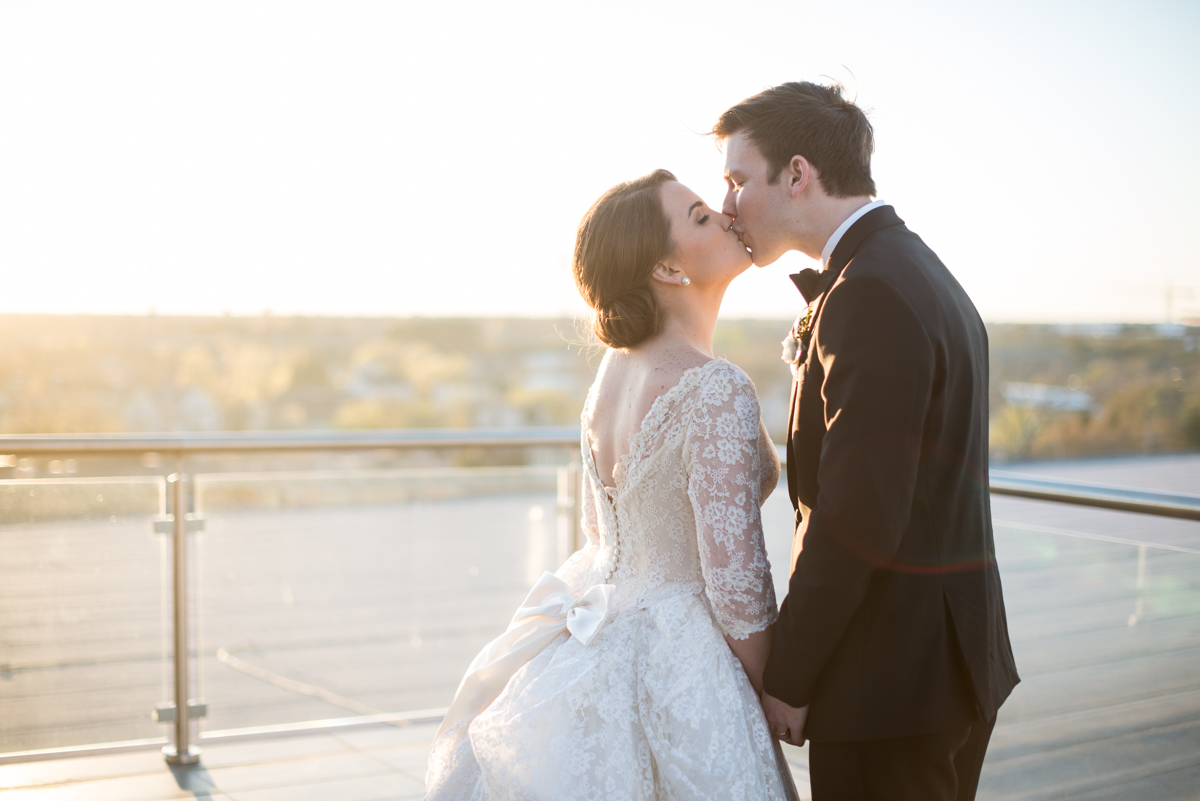 Navy, Wine, and Gold Charleston Wedding | Sunset Rooftop Portraits