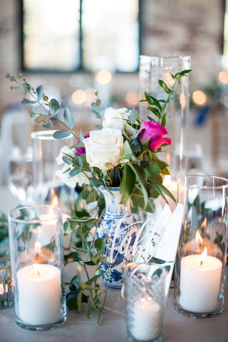 Navy, Wine, and Gold Charleston Wedding | White Rose and Blue Porcelain Wedding Centerpieces