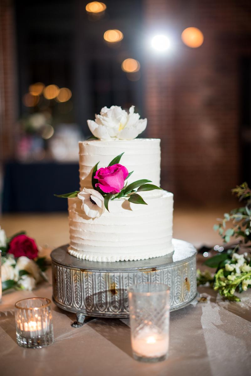 Navy, Wine, and Gold Charleston Wedding | White and Wine Wedding Cake