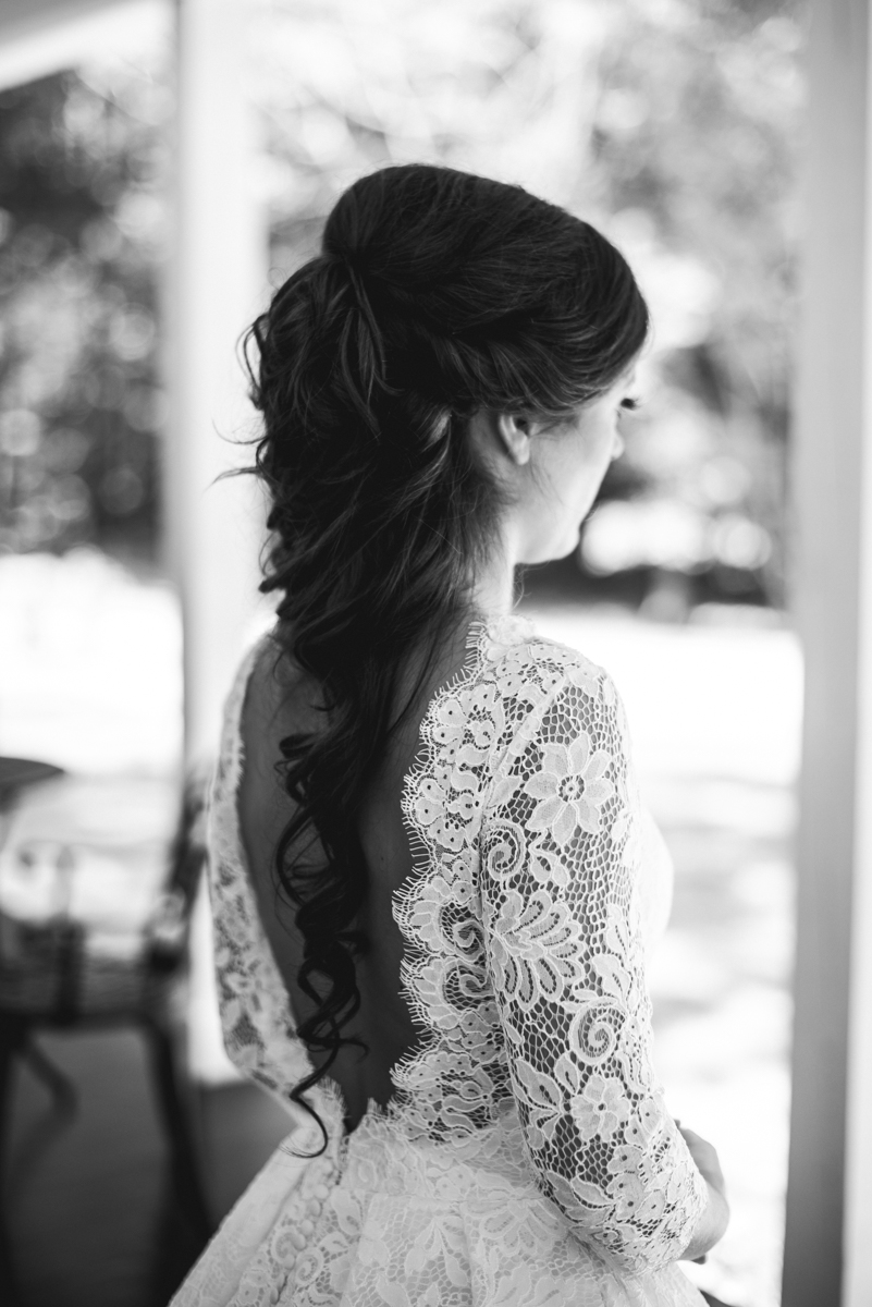 Elegant and Intimate Winery Wedding | Bride all-over lace dress with sleeves
