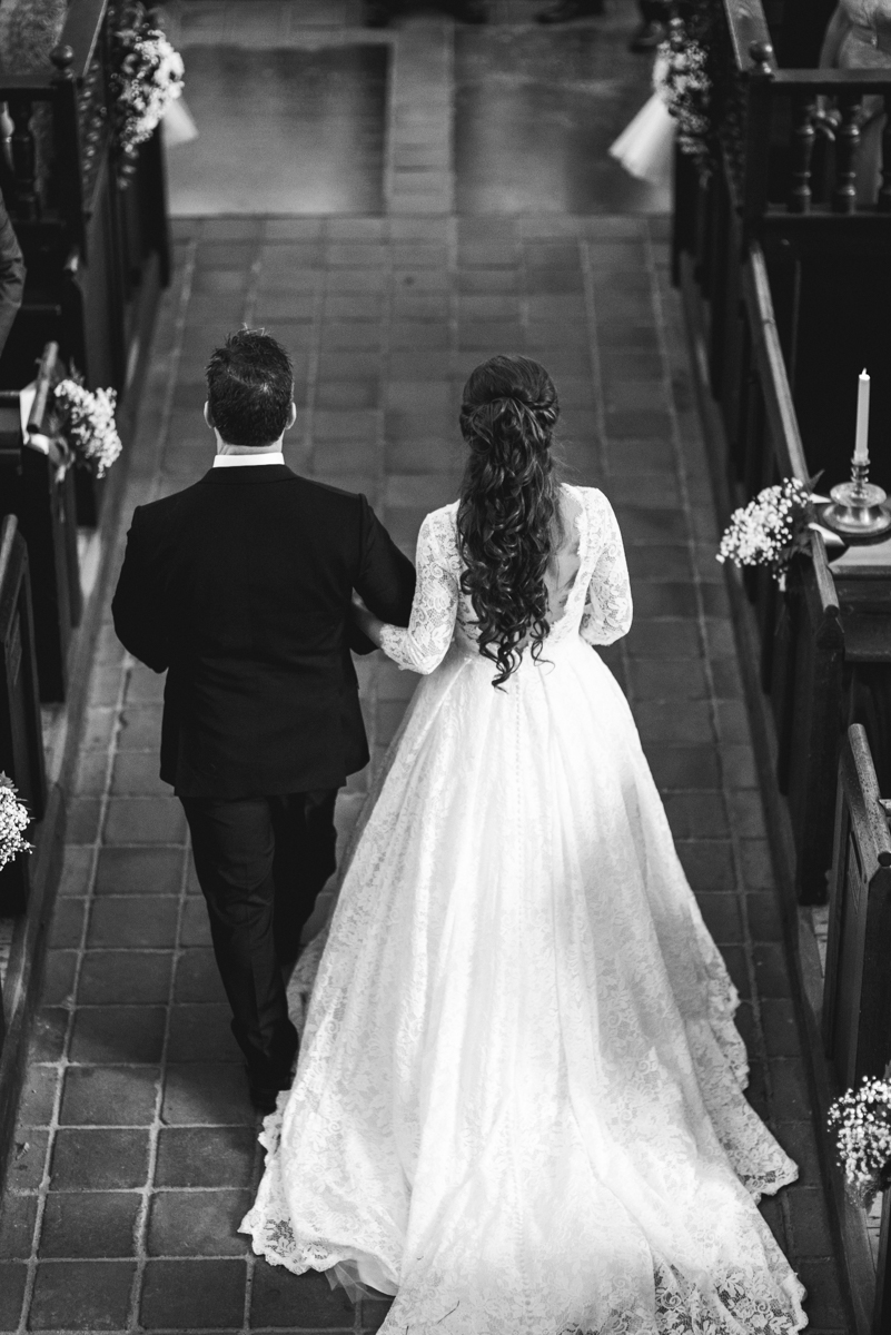 Elegant and Intimate Winery Wedding | Bride and father walking down aisle