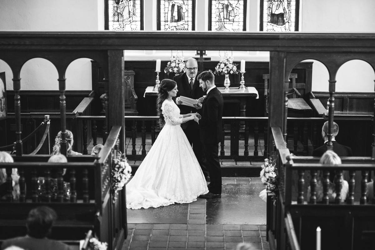 Elegant and Intimate Winery Wedding | Bride and groom at altar