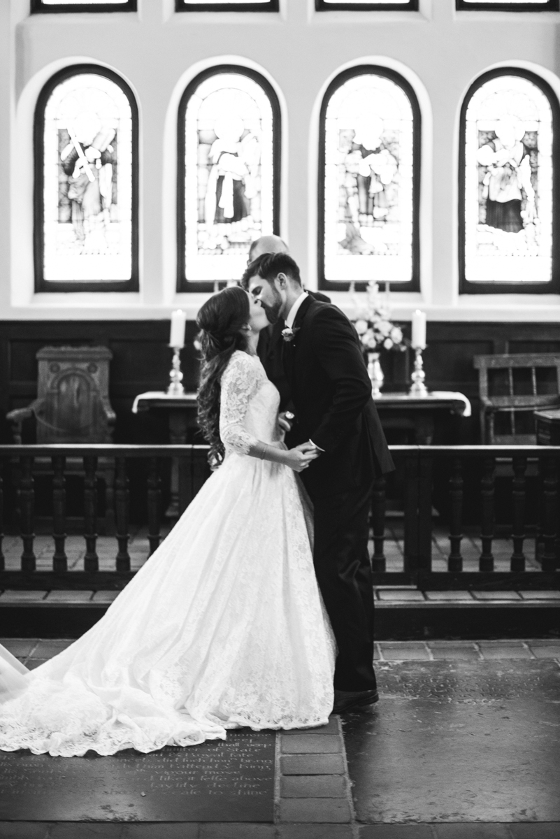 Elegant and Intimate Winery Wedding | Bride and groom first kiss