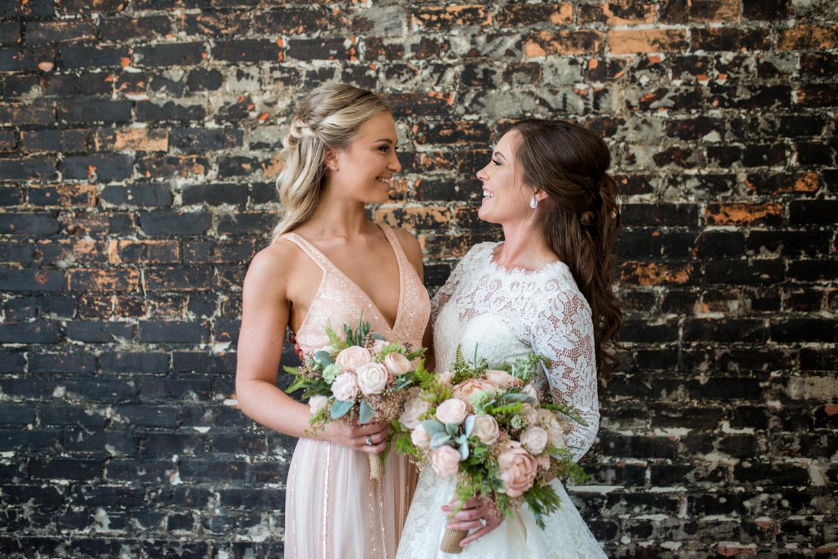 Elegant and Intimate Winery Wedding | Glitter blush bridesmaid dress