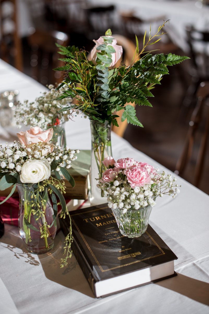 Elegant and Intimate Winery Wedding | Blush and white floral reception centerpieces