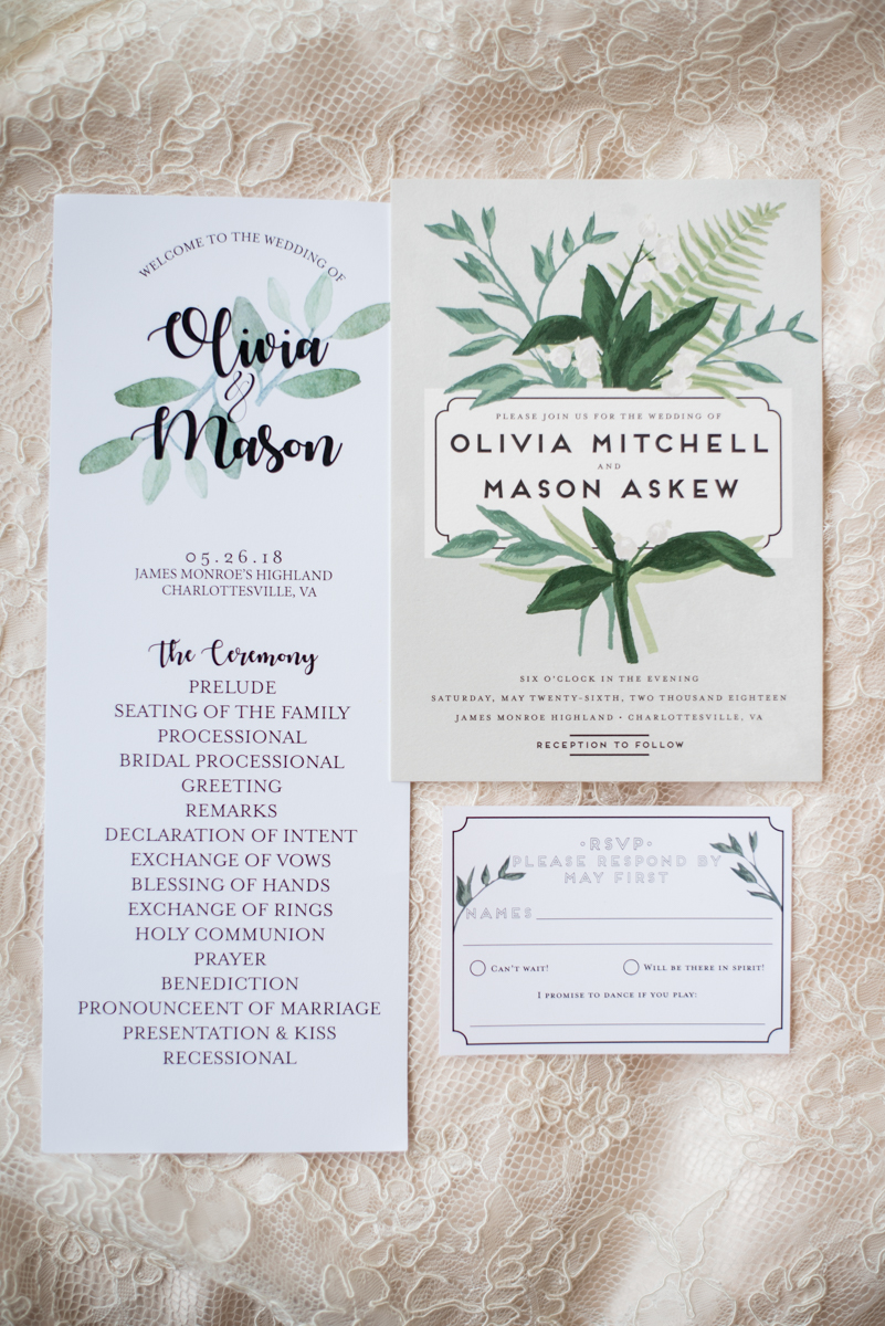 James Monroe Highland Wedding in Charlottesville | Green and white wedding invitations
