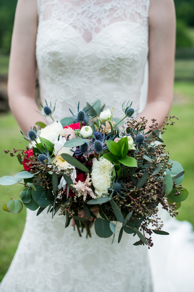 James Monroe Highland Wedding in Charlottesville | Red, white, and blue bridal bouquet
