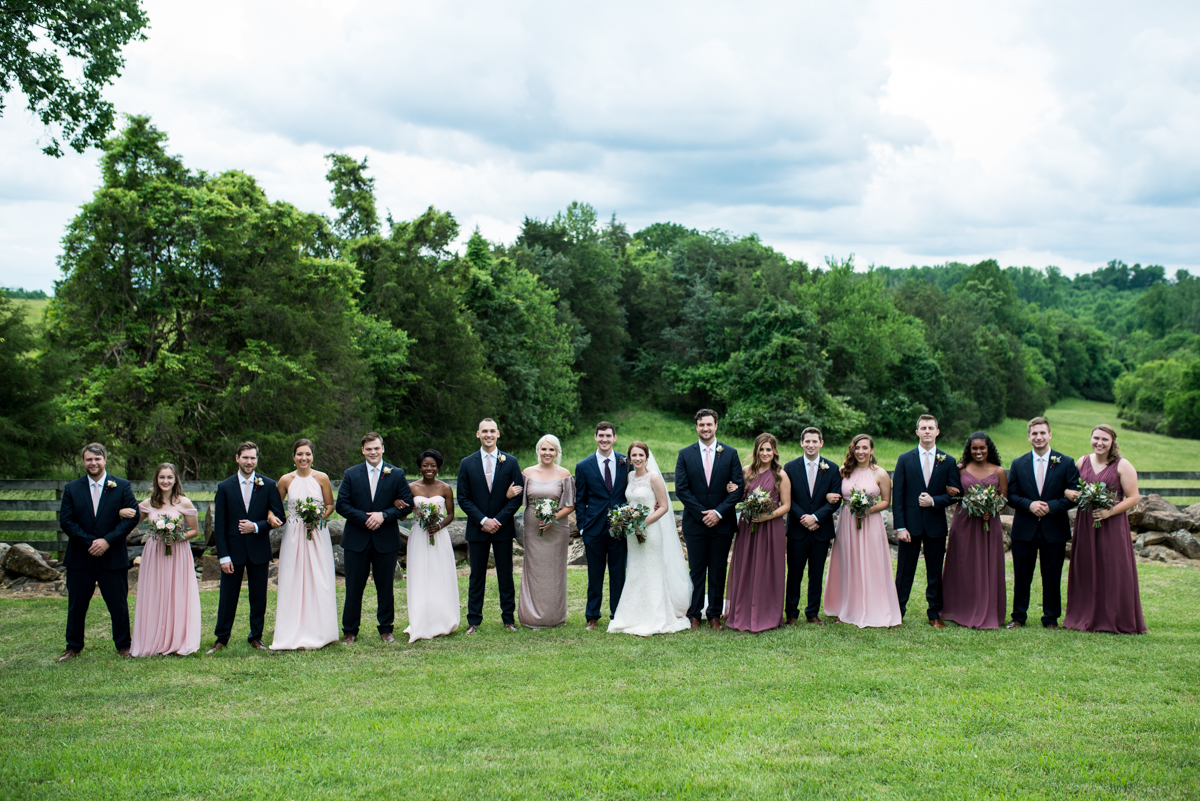 James Monroe Highland Wedding in Charlottesville | Navy blue, lavender, and blush bridal party