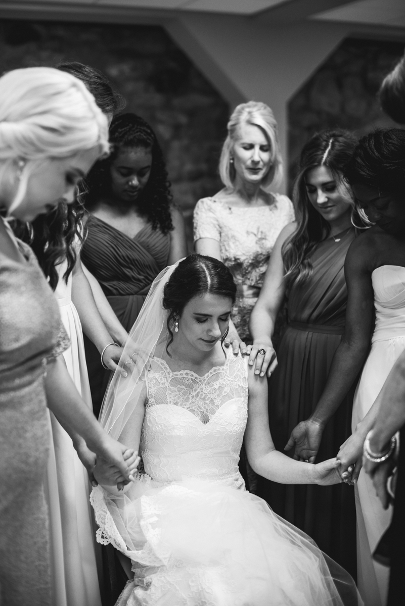 James Monroe Highland Wedding in Charlottesville | Bridesmaids prayer before ceremony