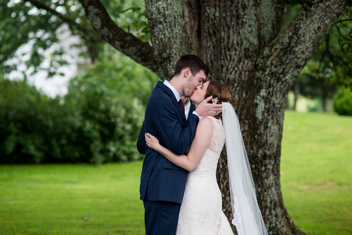 James Monroe Highland Wedding in Charlottesville | Bride and groom first kiss