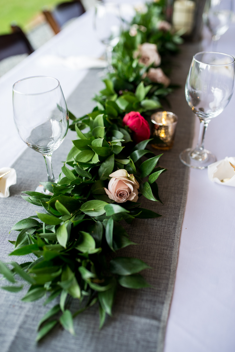 James Monroe Highland Wedding in Charlottesville | Reception centerpiece with greenery and roses