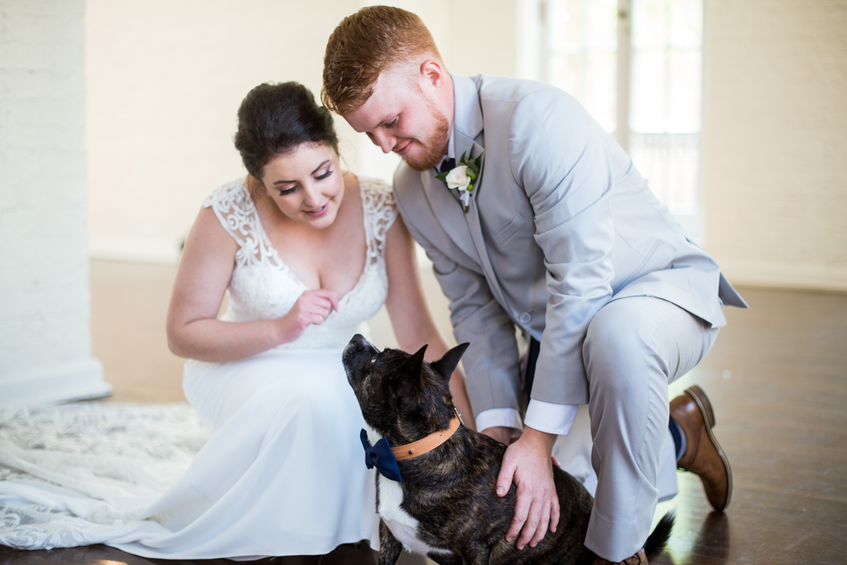 Minimalist White and Green Summer Wedding | Bride and Groom with Dog