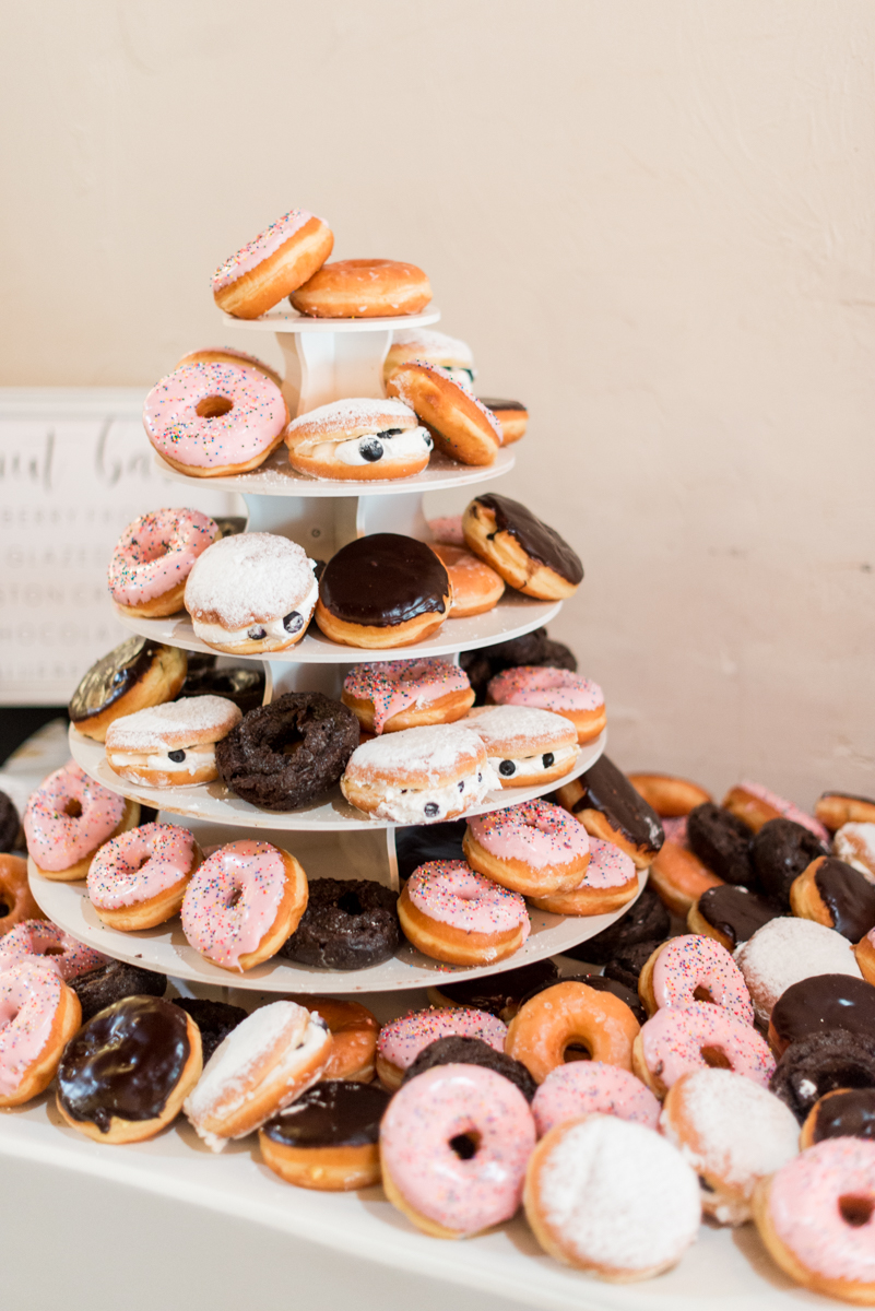 Minimalist White and Green Summer Wedding | Wedding Donut Cake