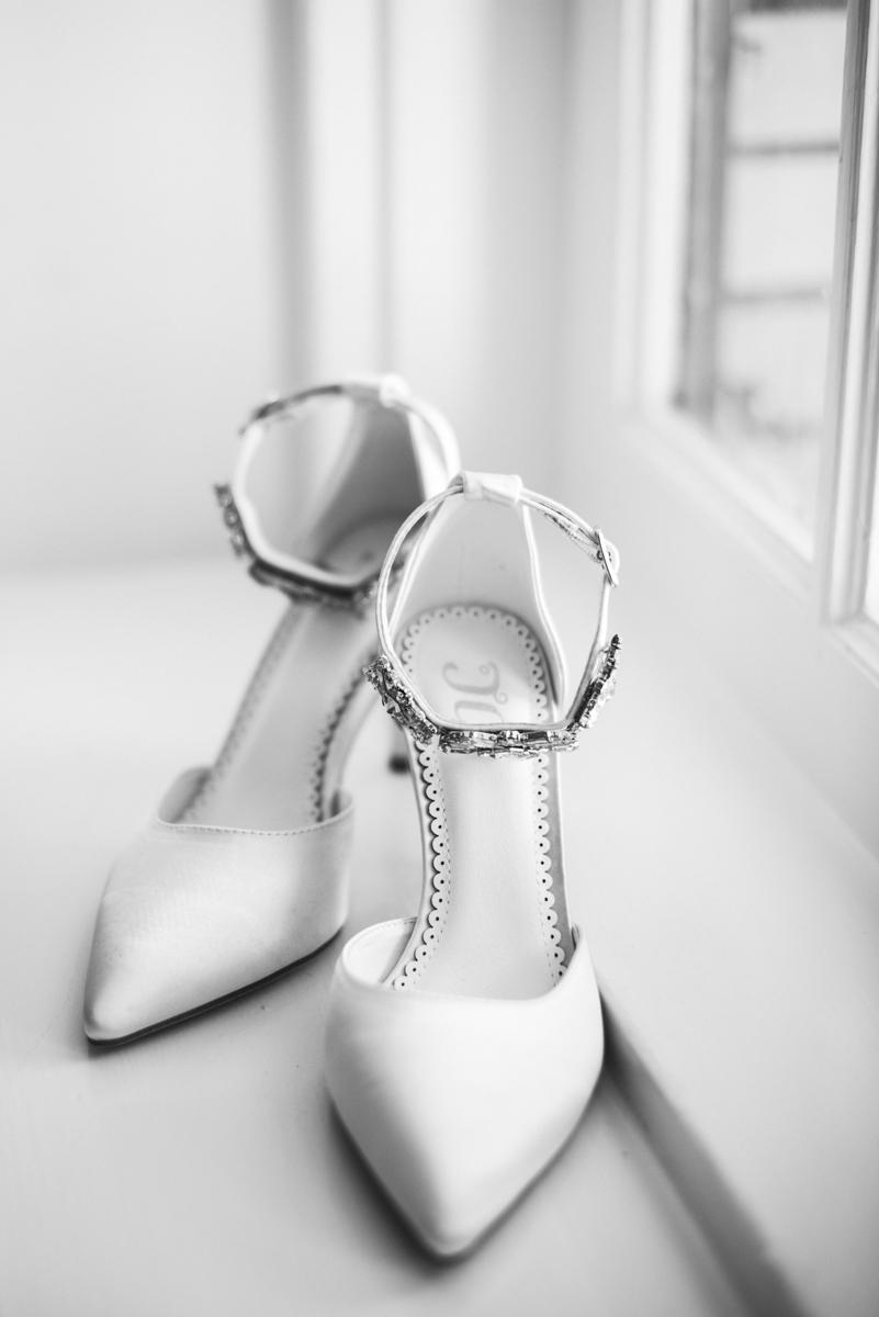 Minimalist White and Green Summer Wedding | White Bridal Shoes