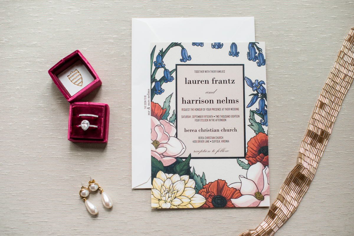 Scottish Themed Wedding with Burgundy and Copper | Floral wedding invitations