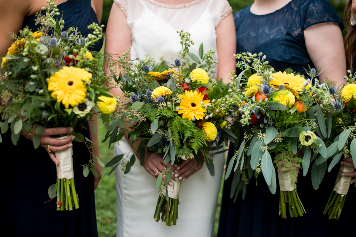 Scottish Themed Wedding with Burgundy and Copper | Bride's and Bridesmaids Wildflower Bouquets