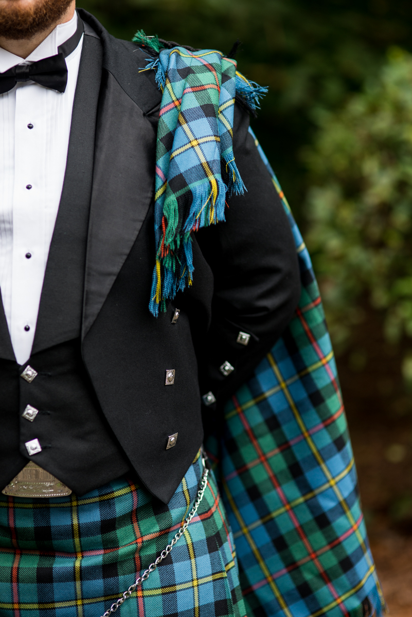 Scottish Themed Wedding with Burgundy and Copper | Groom wearing kilt