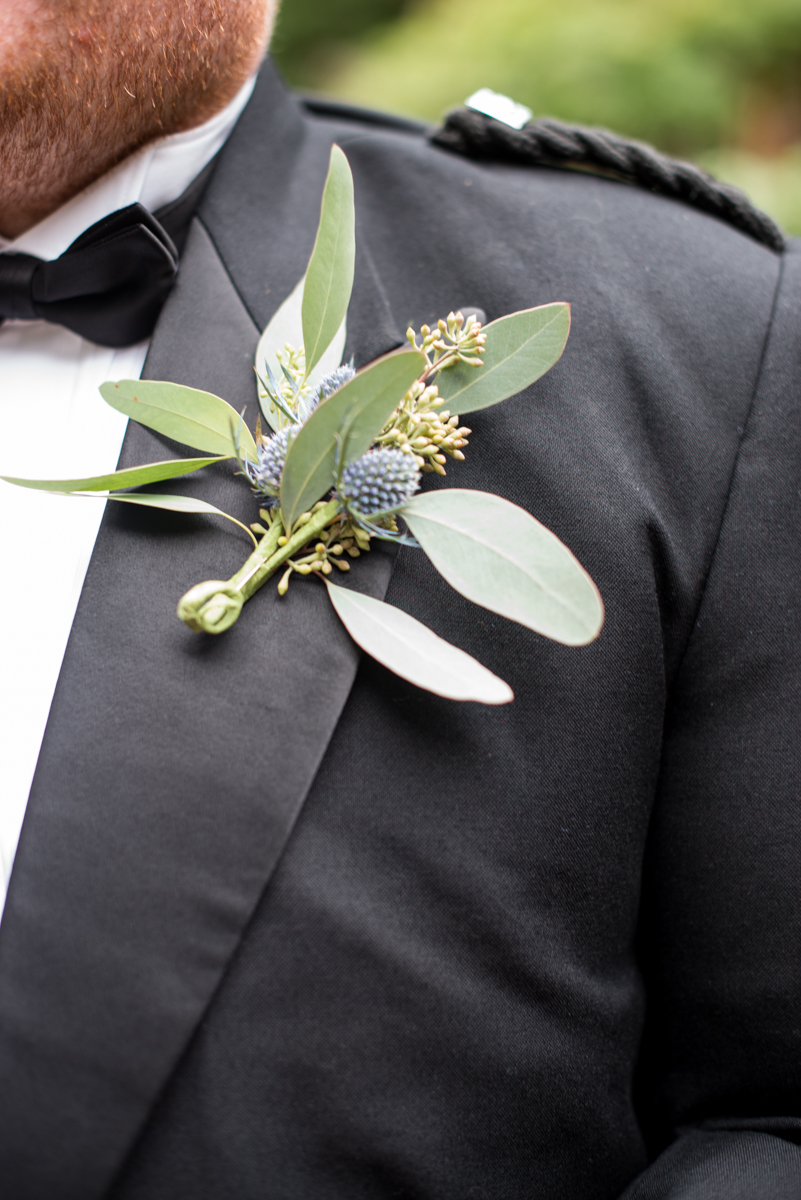 Scottish Themed Wedding with Burgundy, Navy, and Copper | Blue Thistle Boutonniere