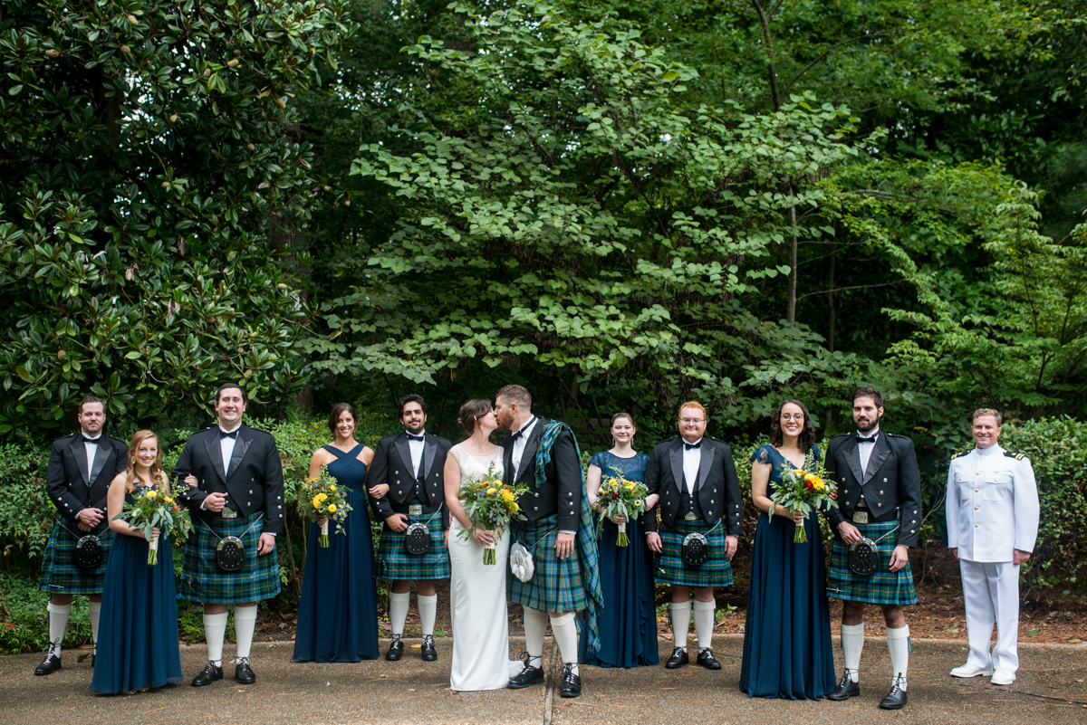 Scottish Themed Wedding with Burgundy, Navy, and Copper | Bridal Party with Navy and Tartan Kilts