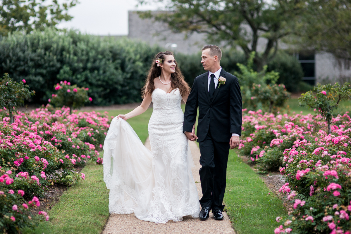 Blush and Burgundy Garden Wedding | Bride and groom poses