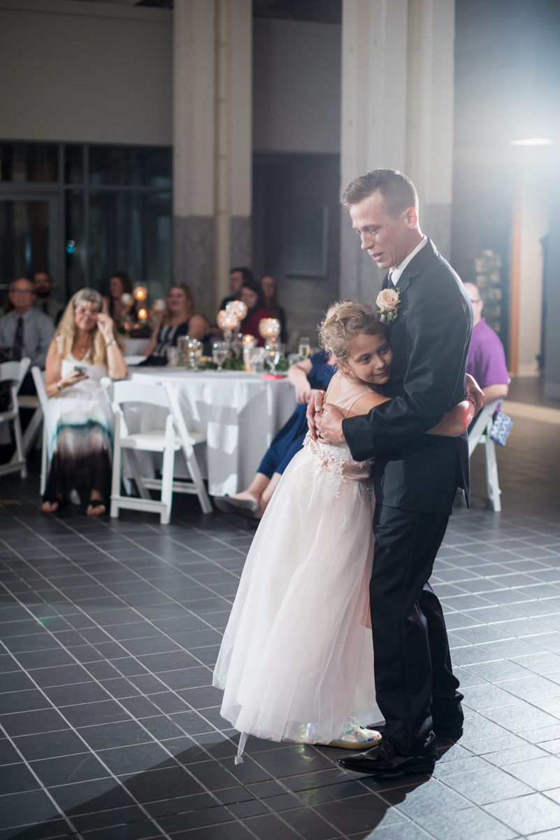 Blush and Burgundy Garden Wedding | Groom dances with daughter