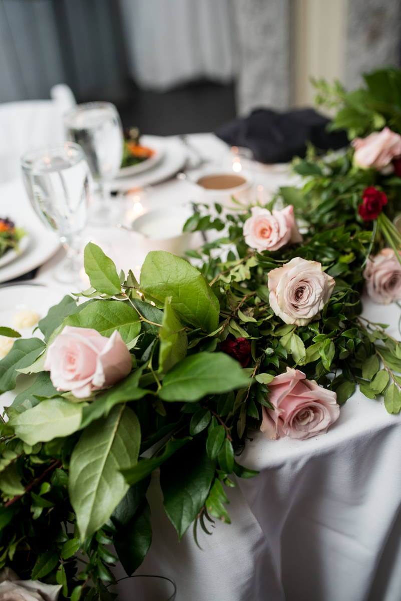 Blush and Burgundy Garden Wedding | Head table flower and greenery garland