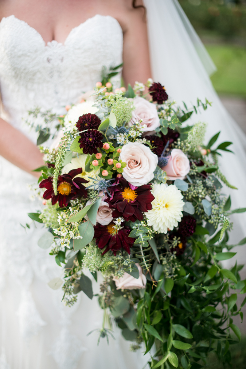 Cascading Bridal Bouquet with Blush Roses and Burgundy Dahlias