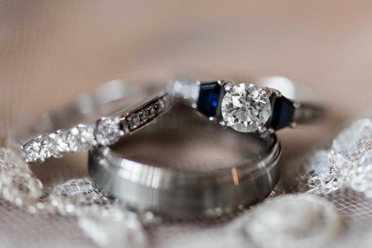 Gold, Blue, and Burgundy Fall Wedding | Blue Sapphire Wedding Ring
