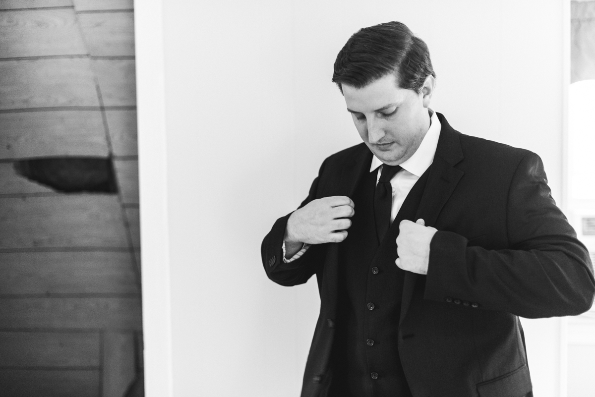 Gold, Blue, and Burgundy Fall Wedding | Groom getting ready