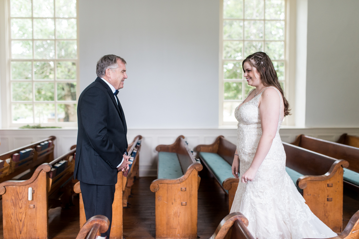 Gold, Blue, and Burgundy Fall Wedding | First Look with Dad