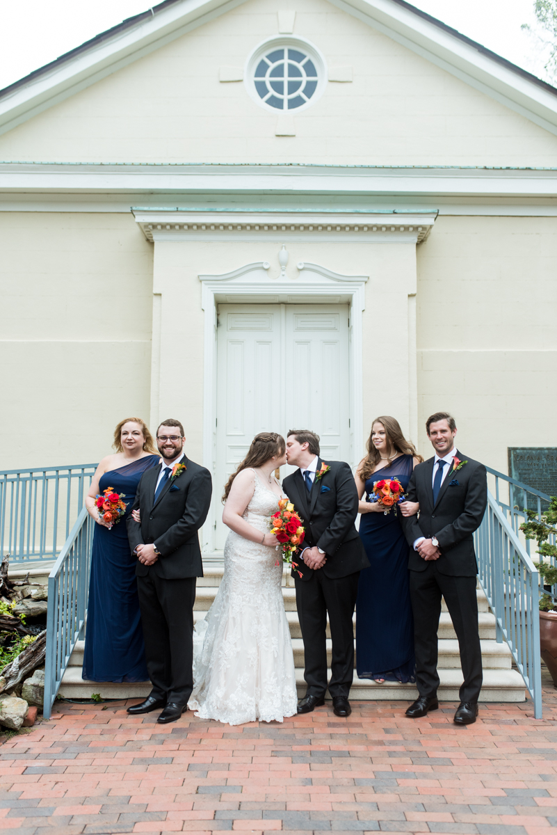 Gold, Blue, and Burgundy Fall Wedding | Bridal party pictures