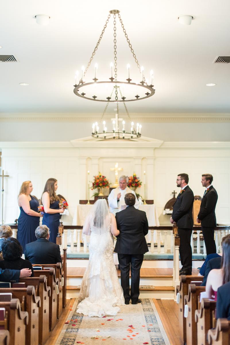 Gold, Blue, and Burgundy Fall Wedding | Wedding ceremony