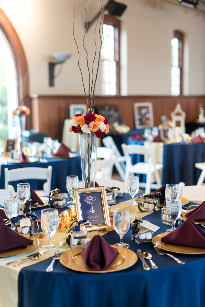 Gold, Blue, and Burgundy Fall Wedding | Blue, burgundy, and gold wedding centerpieces