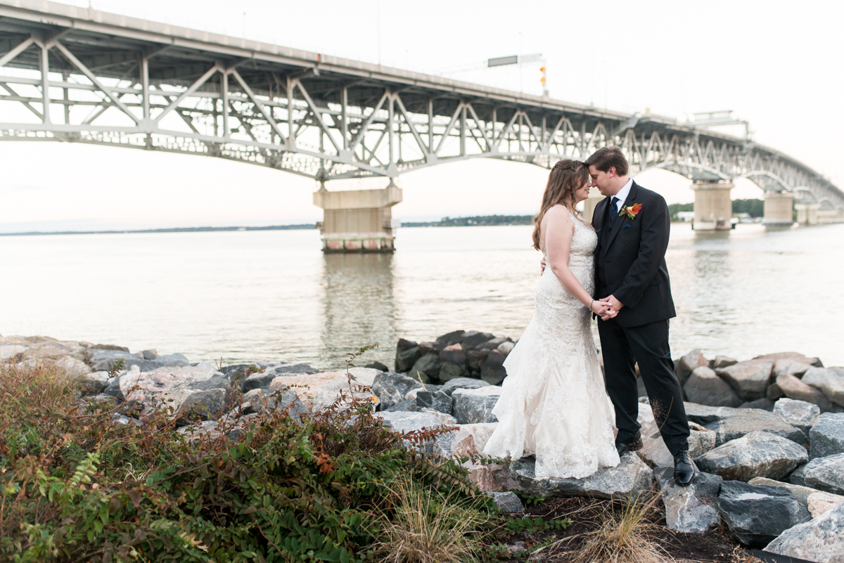 Gold, Blue, and Burgundy Fall Wedding | Bride and groom sunset pictures